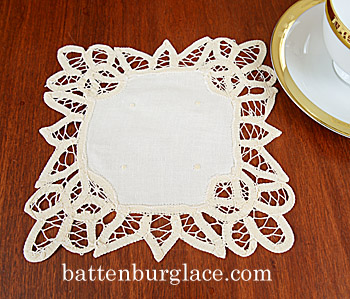 Battenburg Lace. Square Doilies. 7in. Ecru color.